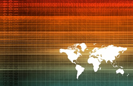 linked services: Global Software Company with Technology Data Art Stock Photo