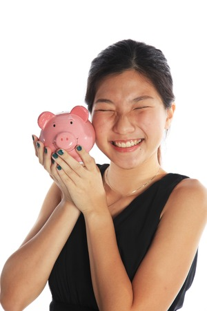 education loan: I Love Money or Woman Loving Money Stock Photo