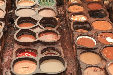 vats: Fez Tannery in Morocco with Vats for Dying Leather Stock Photo