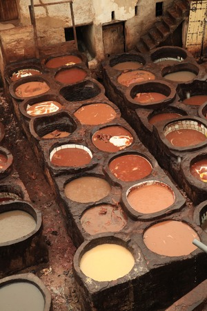 vats: Morocco Tannery in Fez or Fes with Dye Pits