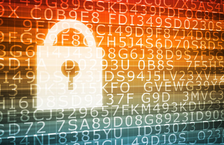 Technology Security with Internet Digital Signature as Art Stock Photo