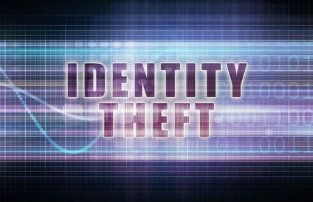 identity theft: Identity Theft on a Tech Business Chart Art Stock Photo