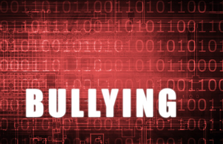 Cyber Bullying on a Digital Binary Warning Abstract Stock Photo