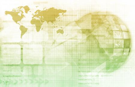 interconnected: Digital Globe con Interconectados Multimedia nodos como arte Foto de archivo