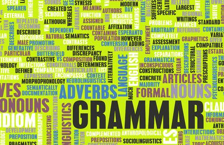 Grammatica Learning Concept en Beter Engels kunst Stockfoto