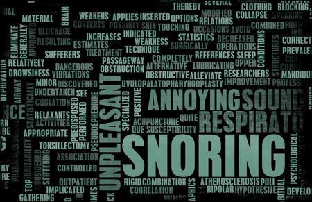 molesto: Los ronquidos o apnea del sue�o como un rasgo Annoying Foto de archivo