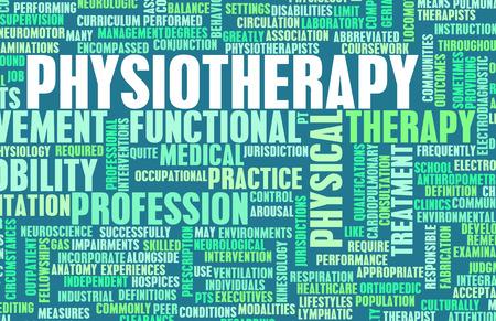 Fisioterapia como un arte concepto médico de la carrera