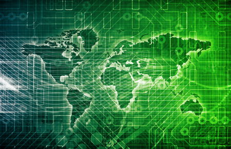 geolocation: Data Network on a Corporate System as Art Stock Photo