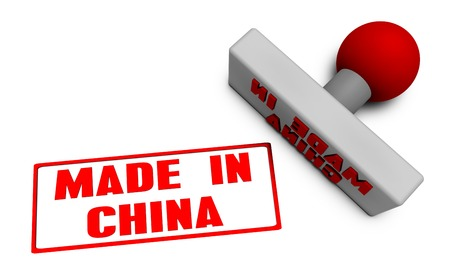 made in china: Made in China Stamp or Chop on Paper Concept in 3d