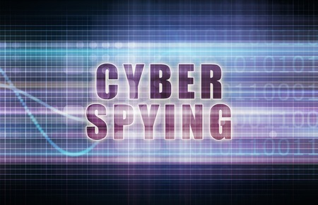 spying: Cyber Spying on a Tech Business Chart Art Stock Photo