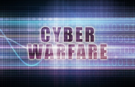 cyber business: Cyber Warfare on a Tech Business Chart Art