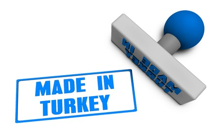 chop: Made in Turkey Stamp or Chop on Paper Concept in 3d