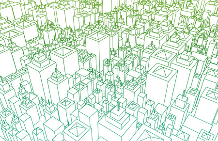 urban planning: Wireframe City with Buildings and Blueprint Design Art