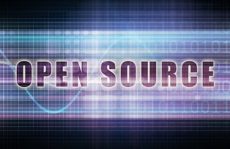 open source: Open Source on a Tech Business Chart Art Stock Photo