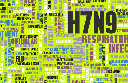 topic: H7N9 Concept as a Medical Research Topic Stock Photo
