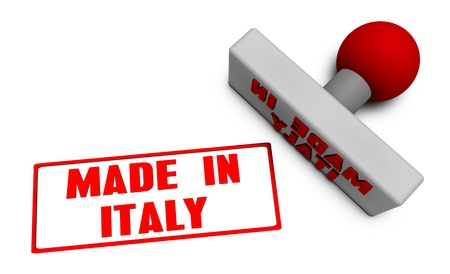 processed food: Made in Italy Stamp or Chop on Paper Concept in 3d Stock Photo