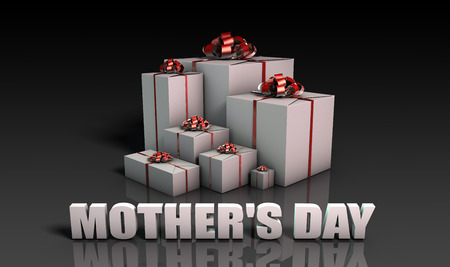 mothers day background: Mothers Day Gifts With Elegant Red Ribbons Stock Photo