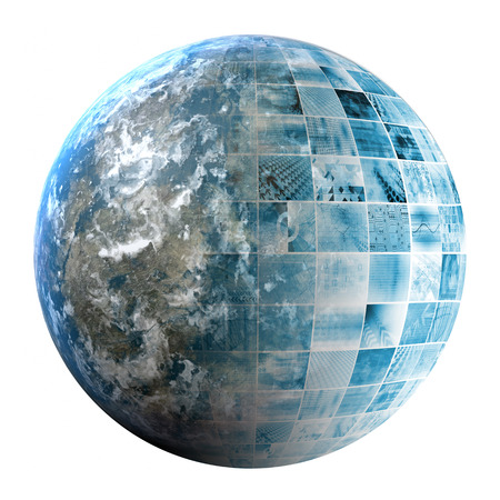 Business Technology Global Network with Futuristic Art photo
