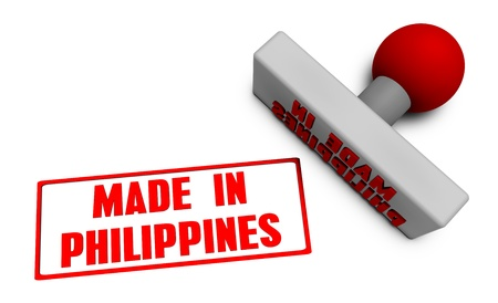processed food: Made in Philippines Stamp or Chop on Paper Concept in 3d Stock Photo
