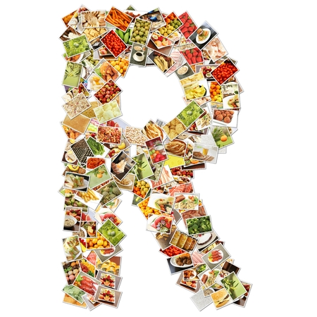 collage alphabet: Letter R Uppercase Font Shape Alphabet Collage Stock Photo