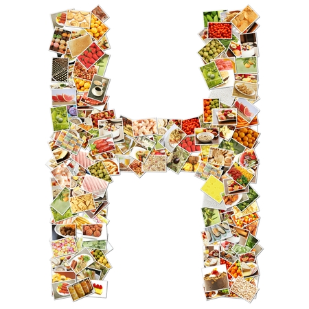collage alphabet: Letter H Uppercase Font Shape Alphabet Collage Stock Photo