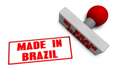chop: Made in Brazil Stamp or Chop on Paper Concept in 3d