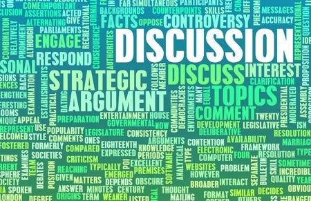 verbal communication: Discussion or Debate as a Verbal Concept Art Stock Photo