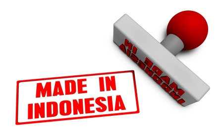 processed: Made in Indonesia Stamp or Chop on Paper Concept in 3d
