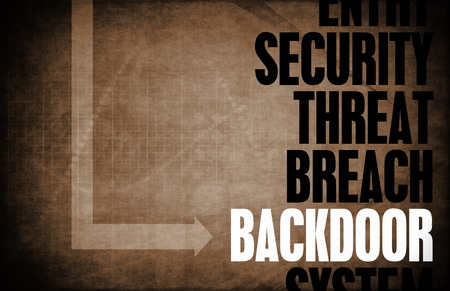 hijacked: Backdoor Entry Computer Security Threat and Protection Stock Photo