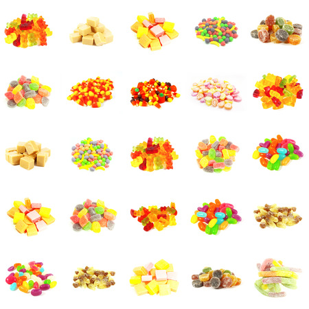Seamless Sweets and Candy Pattern Background on White photo