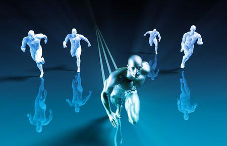 lider: Líder de mercado y ganarle a la competencia como concepto Foto de archivo