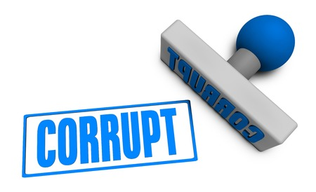 corrupt: Corrupt Stamp or Chop on Paper Concept in 3d Stock Photo