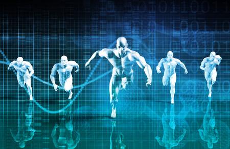 salud y deporte: Gesti�n Deportiva y Coaching La ciencia como una carrera Foto de archivo
