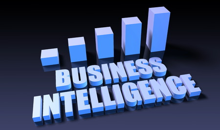 business intelligence: Business intelligence graph chart in 3d on blue and black Stock Photo