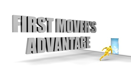 advantage: First Mover Advantage as a Fast Track Direct Express Path Stock Photo