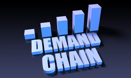 demand: Demand chain graph chart in 3d on blue and black