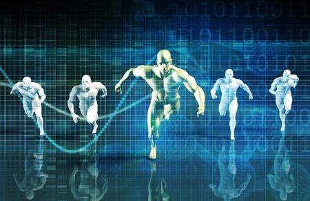 男性にレースとビジネス競争成功 写真素材