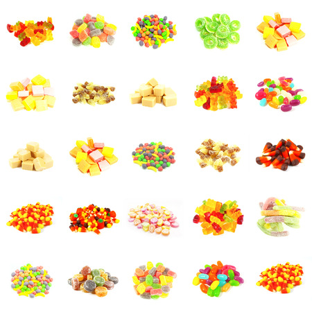 differing: Seamless Sweets and Candy Pattern Background on White Stock Photo