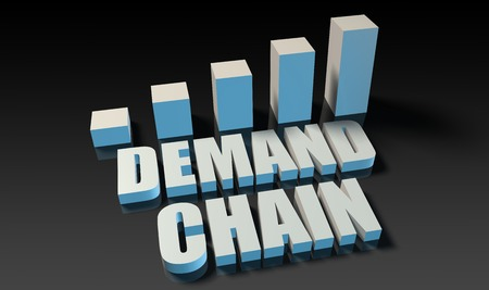 on demand: Demand chain graph chart in 3d on blue and black