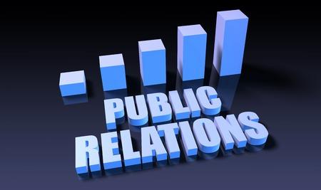 relaciones publicas: Relaciones p�blicas carta del gr�fico en 3d en azul y negro