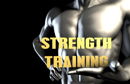 strength training: Strength training With a Business Man Holding Up as Concept