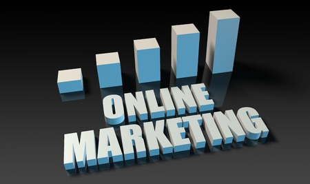 experienced: Online marketing graph chart in 3d on blue and black
