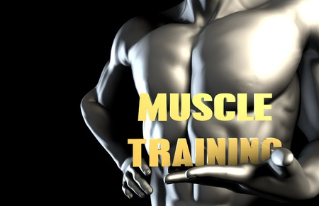 muscle training: Muscle training With a Business Man Holding Up as Concept