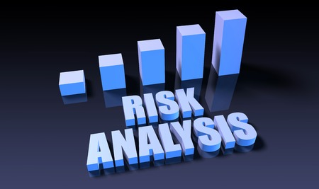 risk analysis: Risk analysis graph chart in 3d on blue and black