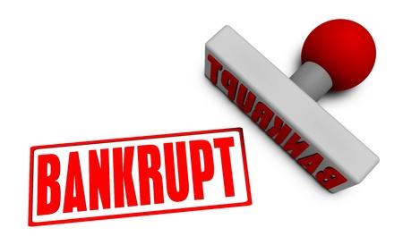 chop: Bankrupt Stamp or Chop on Paper Concept in 3d