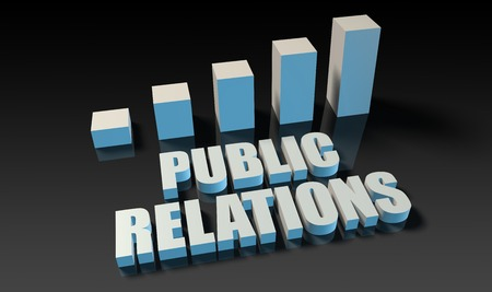 relations: Public relations graph chart in 3d on blue and black Stock Photo