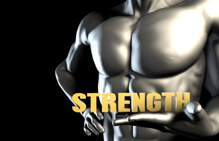 strenght: Strenght With a Business Man Holding Up as Concept Stock Photo