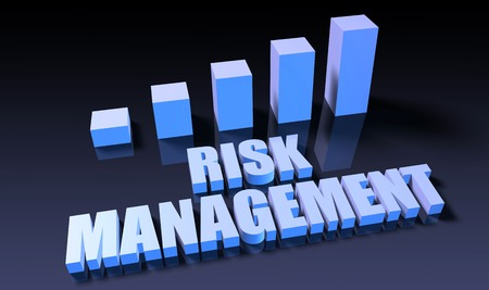 risk management: Risk management graph chart in 3d on blue and black Stock Photo