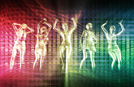 sexy girl dance: Beach Rave Party with Disco Dancing Girls