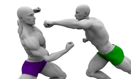 defensa personal: Autodefensa o defensa personal Técnicas en una lucha Foto de archivo